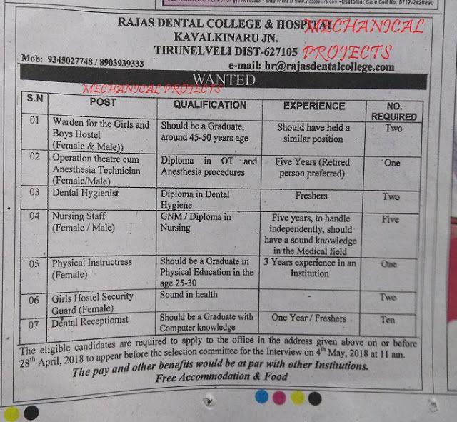 Jobs Vacancies In Rajas Dental College Hospital Kav Dental Mechanical Projects College