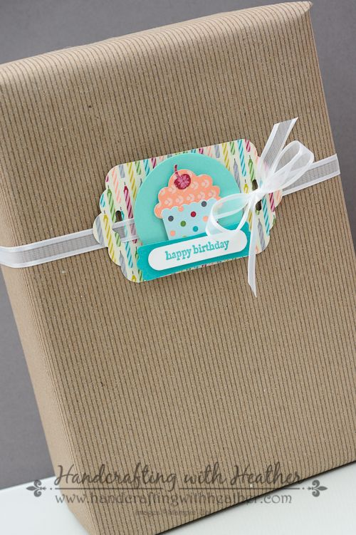 SU! Birthday basics, cupcake punch and scallop tag topper punch for a quick gift tag