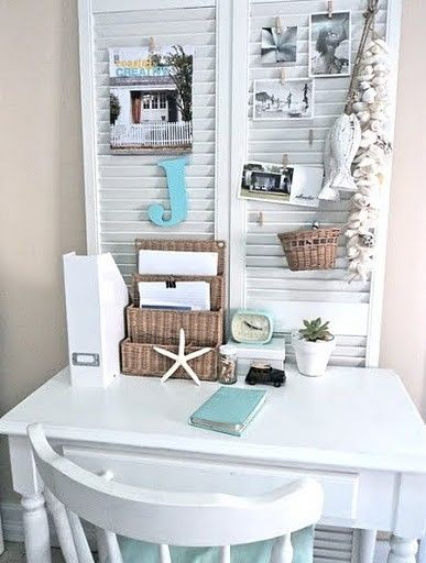 shutter bulletin board behind small desk in master bedroom fabuloushomeblog.comfabuloushomeblog.com