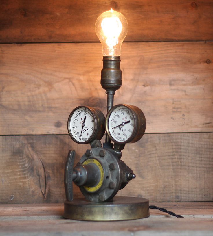 Vintage Welding Gear Lamp | An industrial combination of steel, brass and electricity, thi... | Lamps