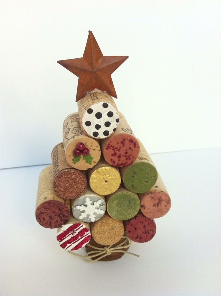 Wine cork Christmas tree using acrylic paint and crafty decor. $10.00, via Etsy.