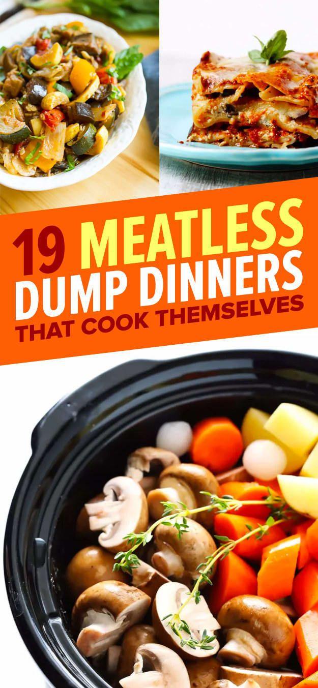 19 Meatless Dump Dinners You Can Make In A Crock Pot Vegetarian Crockpot Recipes Slow Cooker Vegetarian Vegetarian Crockpot