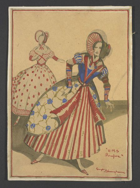 Costume design by George Sheringham for Sisters and Aunts from a production of H.M.S. Pinafore, Savoy Theatre, 1929.