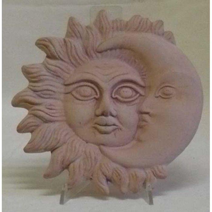 Decoro sole e luna terracotta