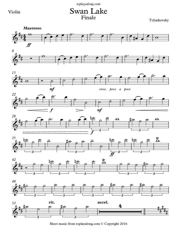 Swan Lake Finale by Tchaikovsky. Free sheet music for violin. Visit toplayalong.com and get access to hundreds of scores for violin with backing tracks to playalong.
