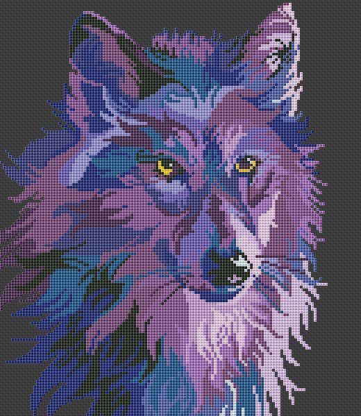 Purple Wolf x-stitch