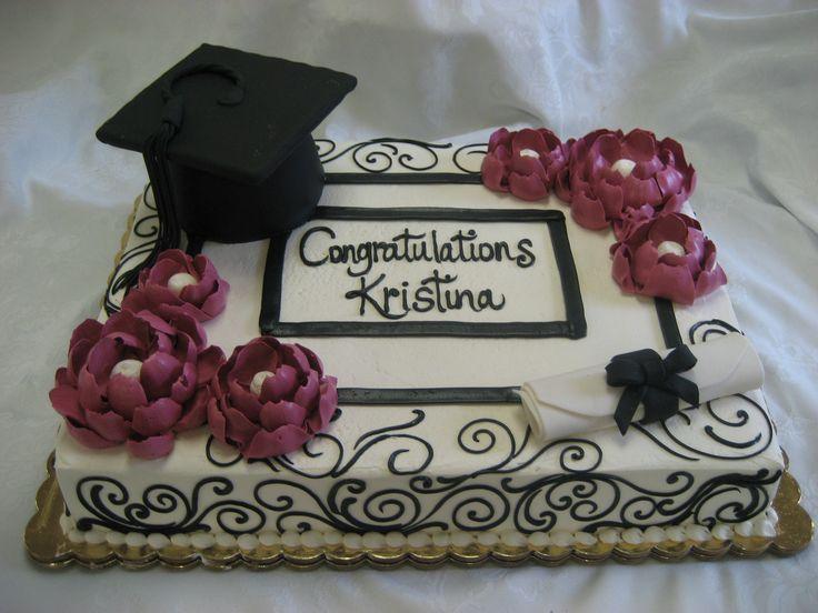 Graduation sheet cake. Graduation cap and diploma.
