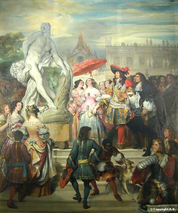 Puget présentant la statue de Milon de Crotone à Louis XIV dans les Jardins de Versailles