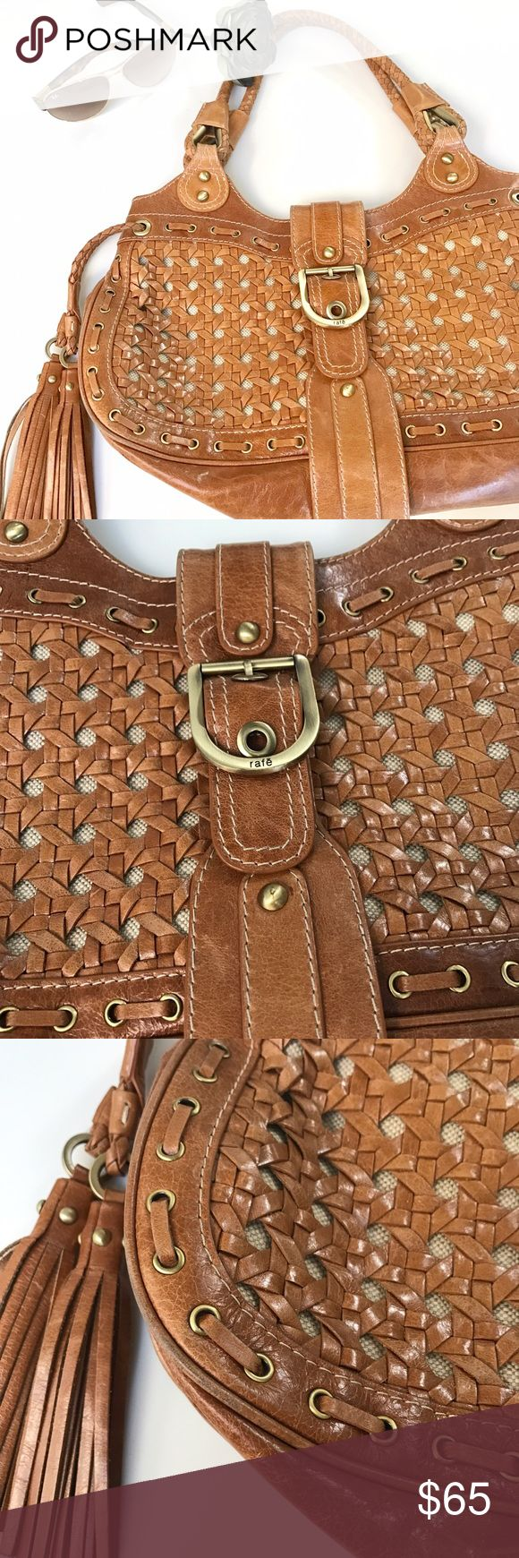 """Rafe' designer leather woven bag Beautiful heavy leather woven bag by New York designer Rafe. Bought at Neiman Marcus. In mint condition. This bags looks and feels as expensive as they are. 16"""" X 10"""" X 4"""". Length from strap 18"""" *price is firm* Rafe Bags Hobos"""