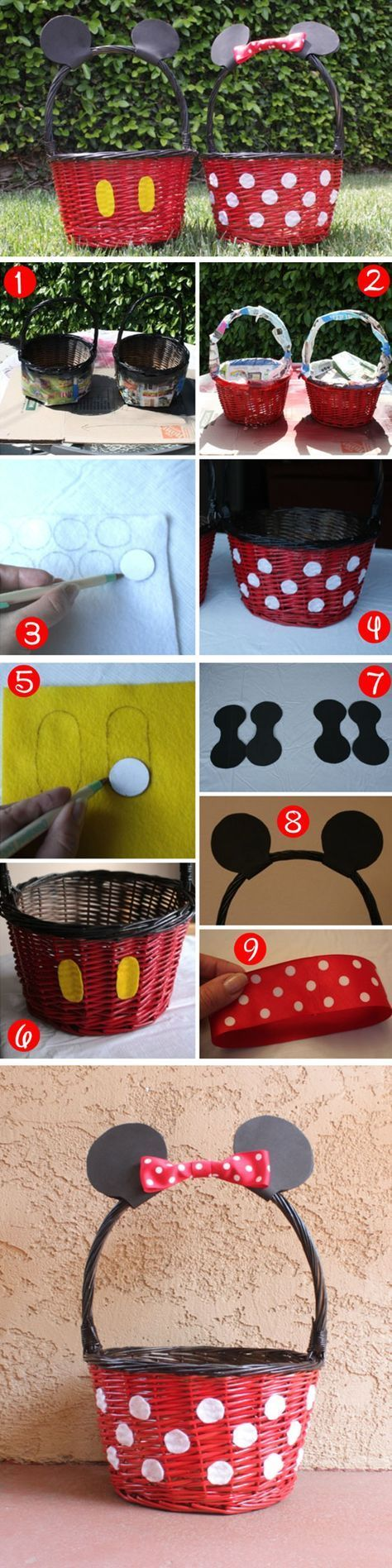 Mickey & Minnie Baskets | Easy DIY Easter Basket Ideas for Kids | Homemade Easter Baskets for Kids to Make