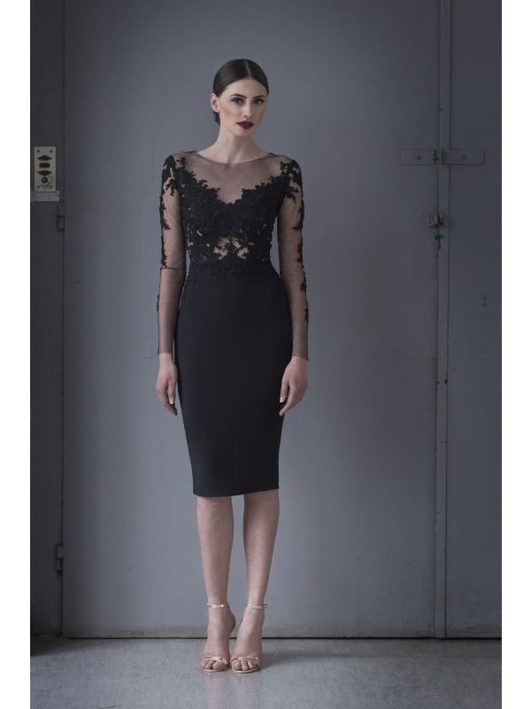 FITTED LACE AND CREPE DRESS - Rhea Costa-Shop