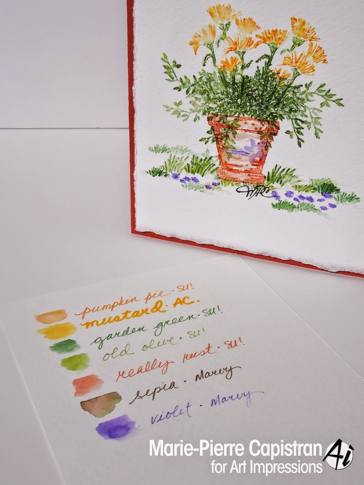 Art Impressions Rubber Stamps: Watercolor card Thinking of you | Watercolor: STAMPIN' MARKERS + LE PLUME II