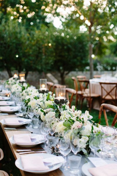 Modern + chic ivory, cream + pink floral garland table runner {Megan Clouse Photography}