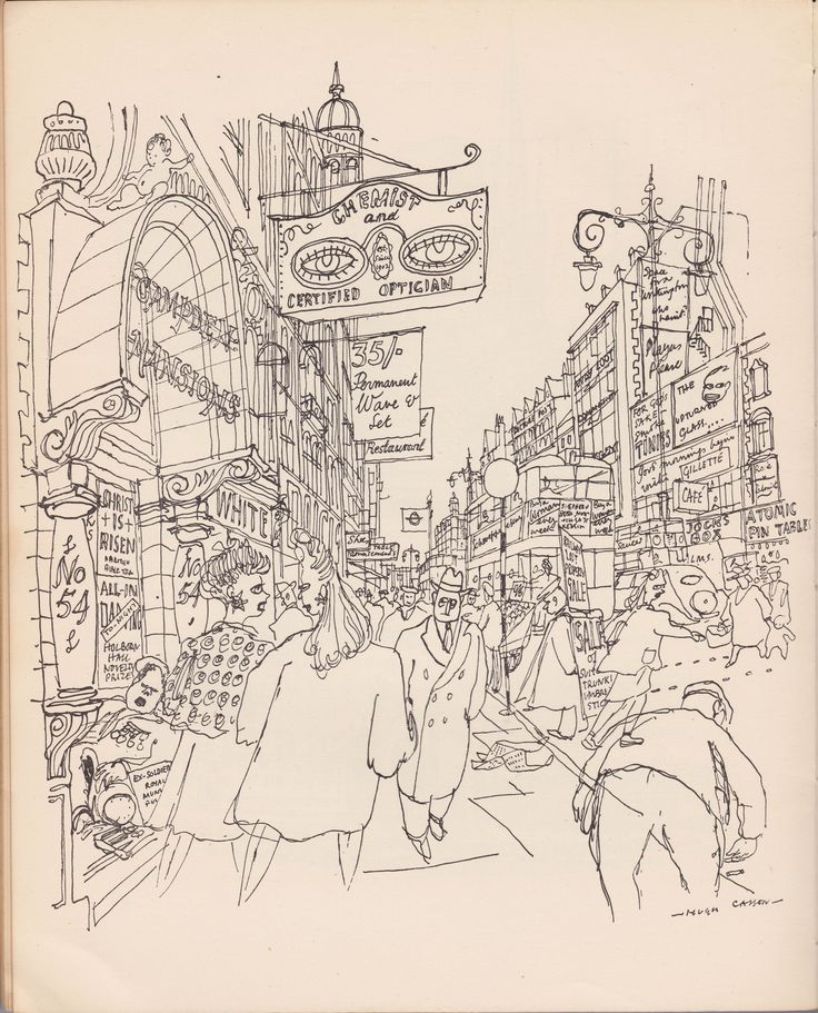 "A London Street - illustration from 'Changing Metropolis"" in Contact Magazine, 1947 - by Hugh Casson"