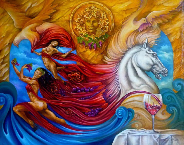 """"""" alchimie autour d'un verre de vin rouge """" huile sur toile https://www.facebook.com/albo.arts"""