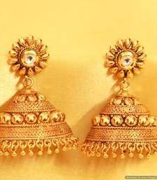 Buy Fine Gold Look Kundan Jhumka's jhumka online