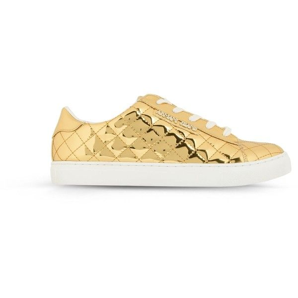 Armani Jeans Sneaker (3,440 MXN) ❤ liked on Polyvore featuring shoes, sneakers, gold, armani jeans, armani jeans trainers, round toe shoes, round cap and armani jeans shoes