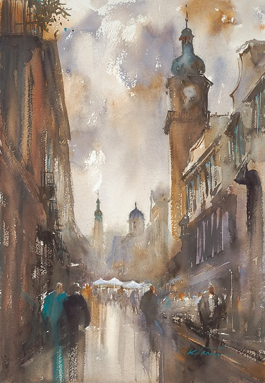 Heidelberg, Germany III by Keiko Tanabe Watercolor ~ 19 x 13 inches (48 x 33 cm)