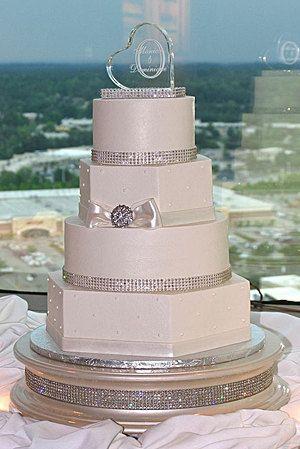 14 inch Champagne Gold Diamond Wedding Cake Stand by WeddingFads