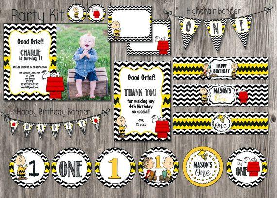 Charlie Brown Birthday Invitation - Snoopy - Chevron - FOR ALL AGES, Custom Birthday Invitations, 1st Birthday Invites. Boy Birthday Invite