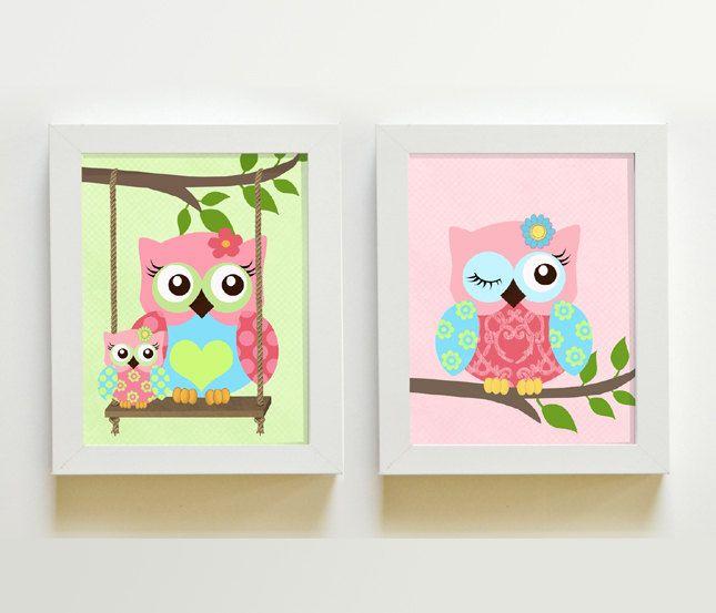 Owls Nursery Art Nursery art Set of 2 8X10 Prints by MuralMAX