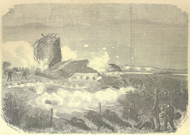 The mill at Dybbøl under attack, March 18, 1864.