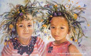 Portret dziewczynek w wiankach