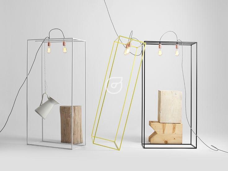 Colorful, simple design. Floor lamp. Yellow. White. Black.