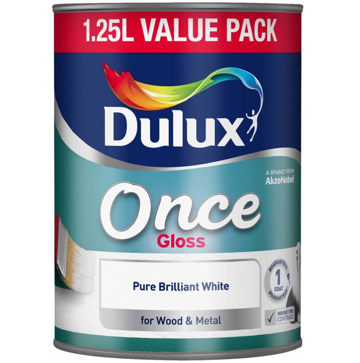 Dulux Once Gloss 1.25 Litre Pure Brilliant White Paint For Wood & Metal One Coat