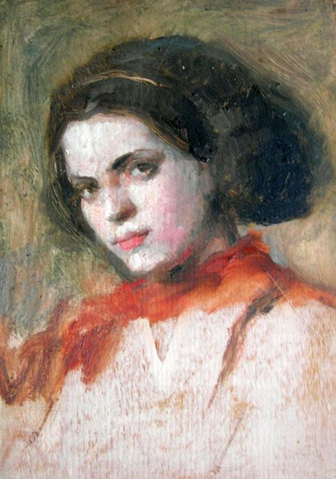 Luigi Varoli / Ritratto di Giovanna Medri / 1929 / olio su tavola, cm 15x11 (Cotignola, collezione privata)