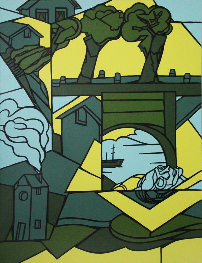 Valerio ADAMI - Paesaggio in quattro parti- Acylique sur toile - 146 x 114 cm