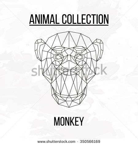 Monkey head geometric lines silhouette isolated on white background vintage…