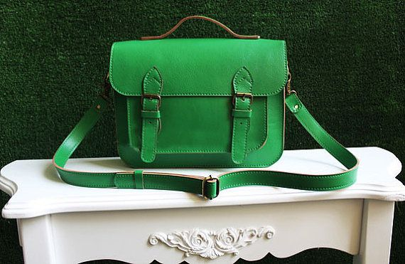 Retro Style Genuine Leather Green Messenger by LeatherFun on Etsy, $189.00