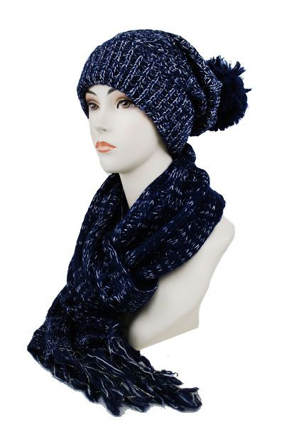 TWO SET CABLE KNITTED LONG BIGGIE W/ P/POM & SCARF