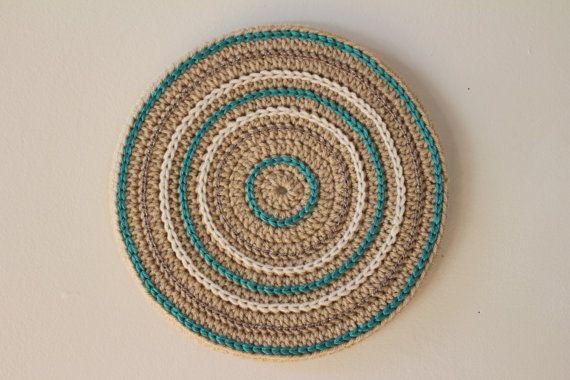 Round Crochet Wall Hanging Beige crochet by BustedHookBoutique #tnteam