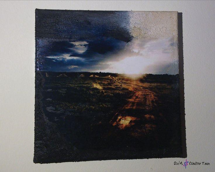 -SUNRISE -Decoupage technique on canvas/ photo print/ modeling paste/ acrylic paint -Measures: 20x20 cm  https://www.etsy.com/listing/213096312/sunrise-decoupage-canvas-dark-colours?ref=shop_home_active_12