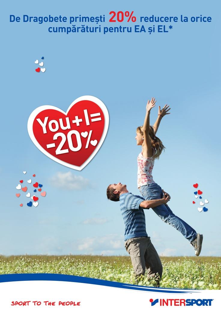 Vino între 21 - 24 Februarie în magazinele INTERSPORT, cumpără minim două produse din colecția nouă Primăvară - Vară 2013 și beneficiază de o reducere de 20% alături de jumătatea ta! #intersport