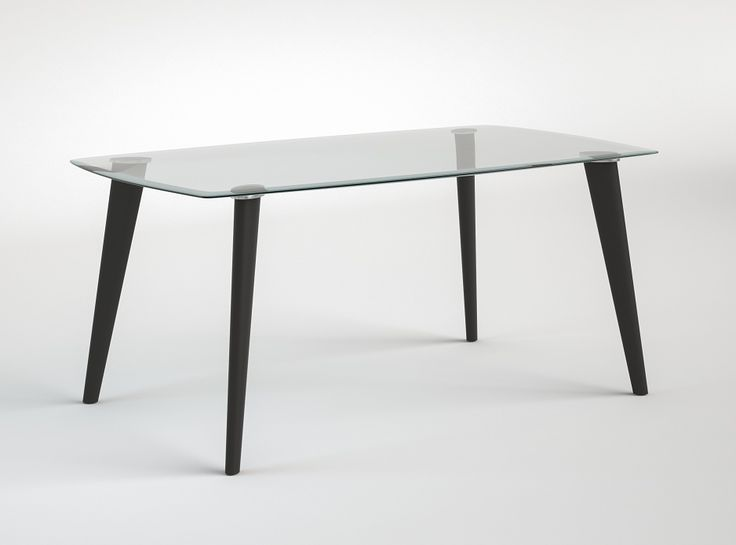 mesa tapa cristal pata recta 160x100x75