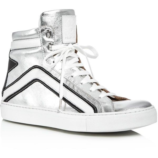 Belstaff Dillon Metallic High Top Sneakers (3,405 CNY) ❤ liked on Polyvore featuring shoes, sneakers, silver, silver metallic shoes, belstaff shoes, metallic sneakers, belstaff and silver hi tops