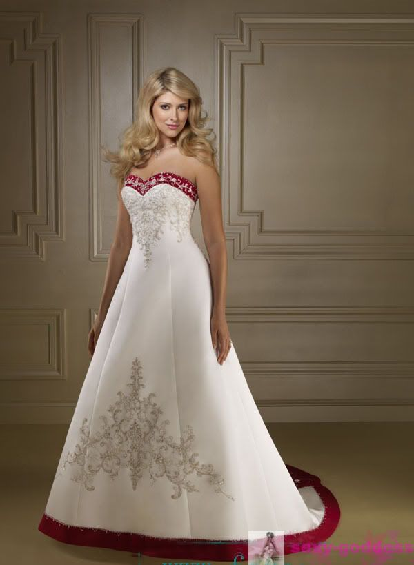 New stock wedding dresses bridal bridesmaid gown hot sale for Red sexy wedding dresses