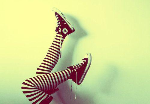 striped socks hi tops