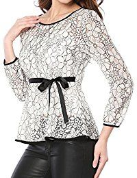 New Allegra K Women's Self-Tie Waist Contrast Sheer Lace Peplum Top online. Find the perfect adidas Tops-Tees from top store. Sku PEPA67590EPJO92662