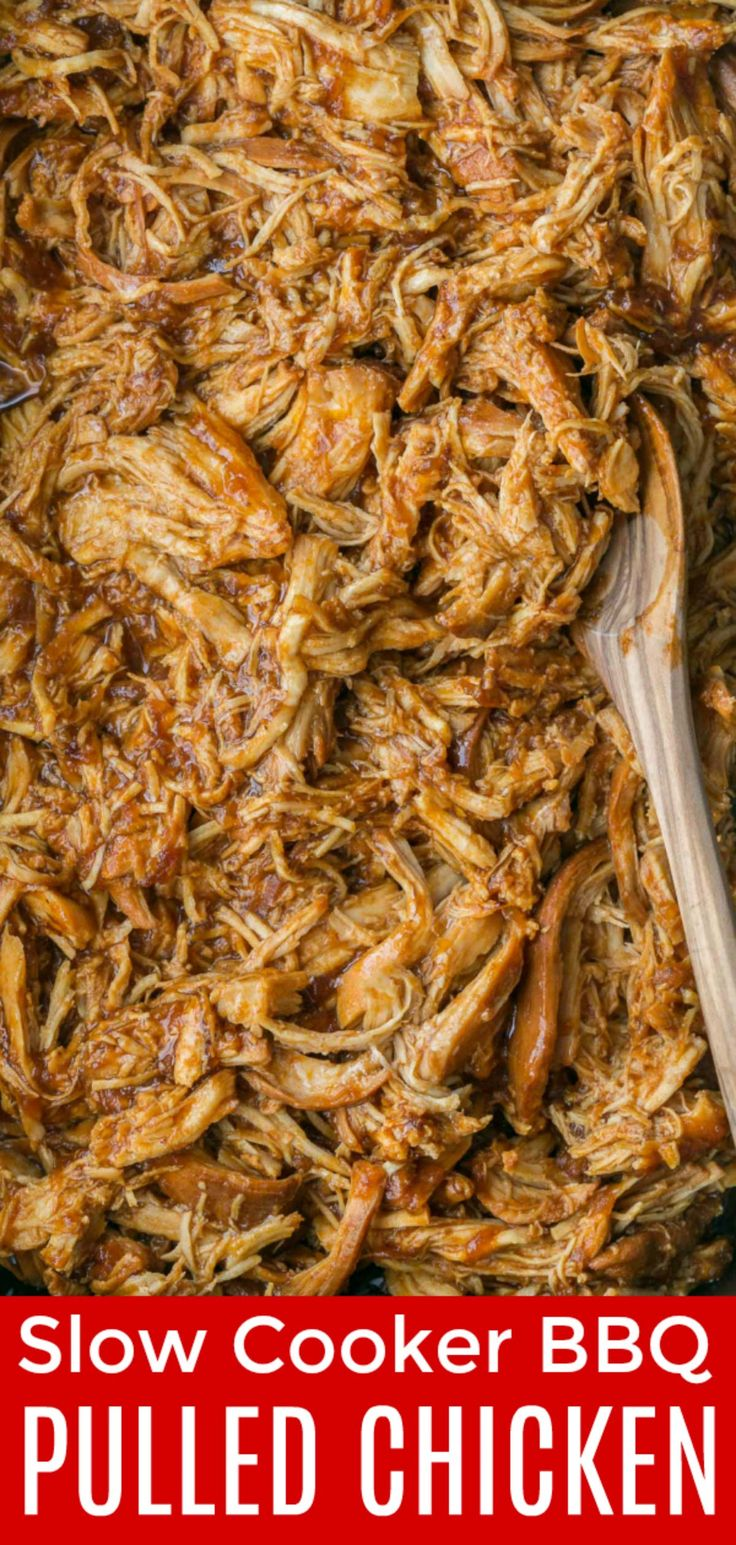 Crockpot BBQ Chicken - The Best Slow Cooker Pulled Chicken! Fall-apart tender, juicy and delicious! | natashaskitchen.com #pulledchicken #crockpotchicken #bbqchicken #slowcookerchicken #chickenrecipes #chicken