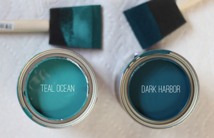 """Teal Ocean"" and ""Dark Harbour"" by Benjamin Moore."