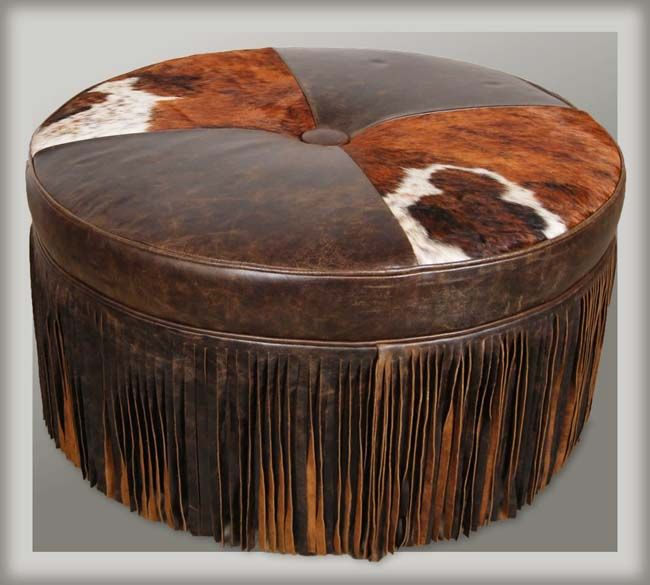 dodge city fringed leather ottoman western ottomans a generous helping of hand cut 14 inch