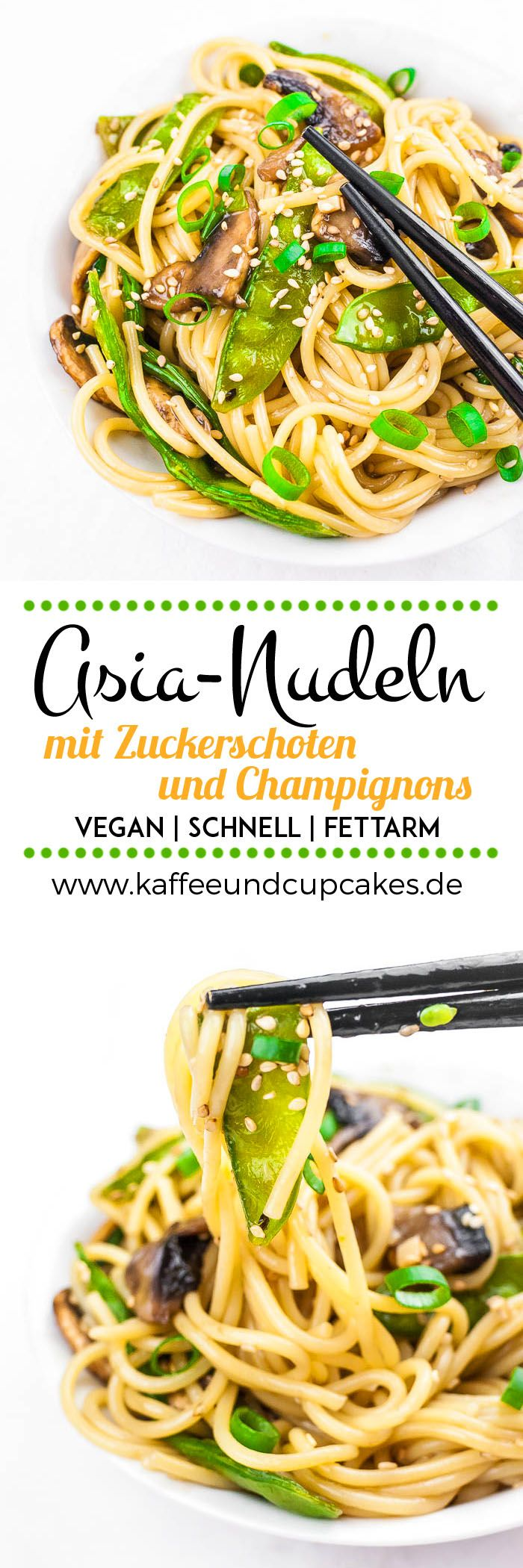 Asia-Nudeln mit Zuckerschoten und Champignons in unter 20 Minuten | Kaffee & Cupcakes #vegan