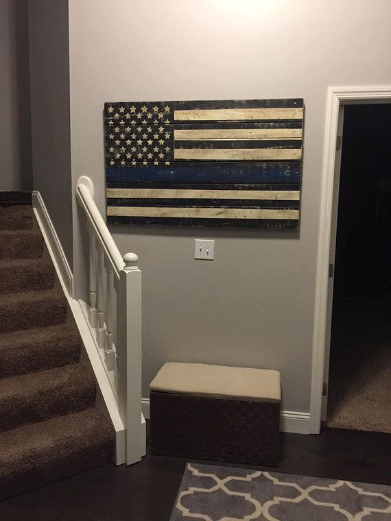 Wooden Thin Blue Line Flag by ShopBirchLane on Etsy