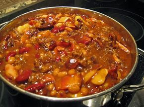 Baked Beans-like the old bean hot dish I made in the 80's. (always good with hamburgers on the grill)