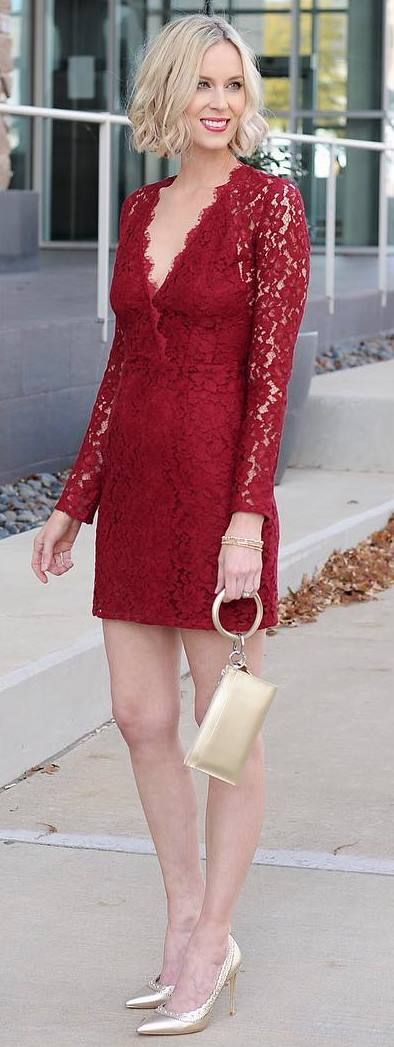 A red lace cocktail dress to restore your faith