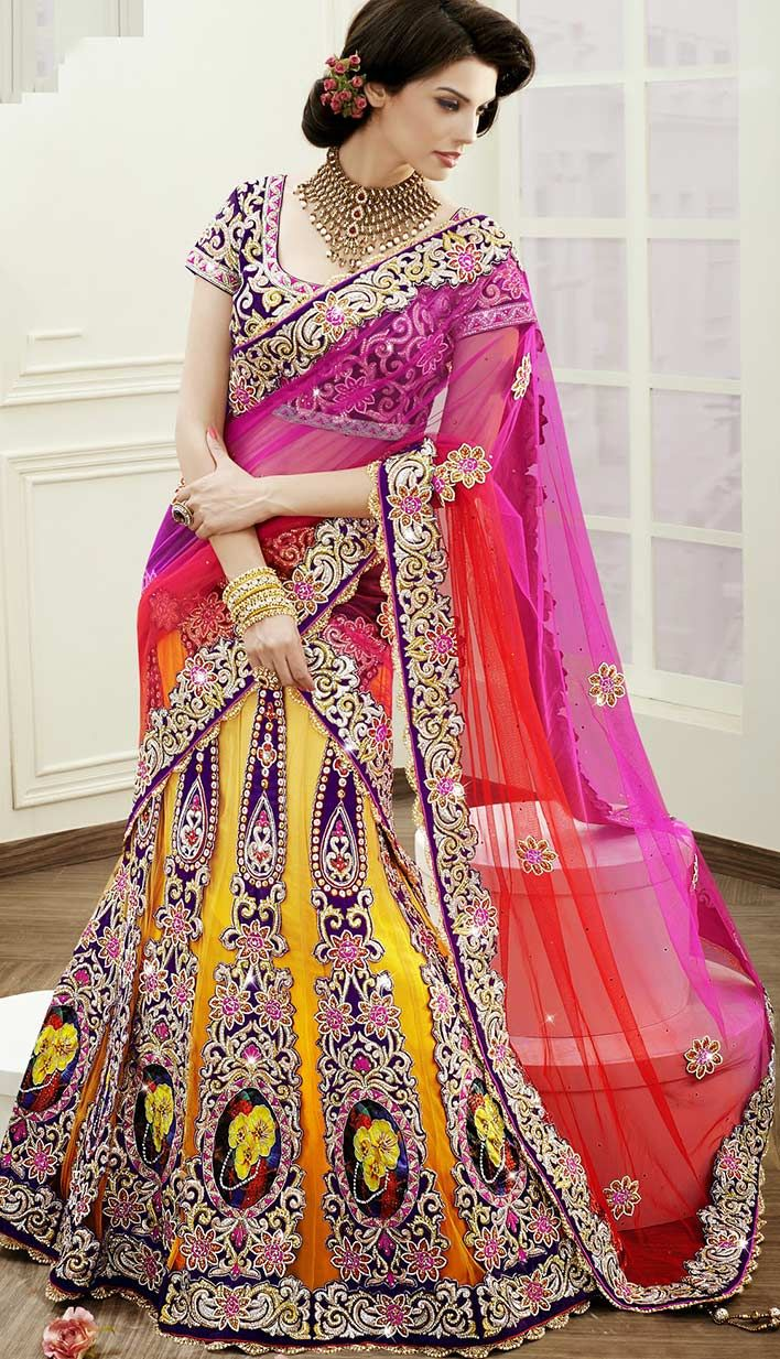 Buy Latest Fashionable Indian Yellow Net Satin Bridal Lehanga Choli at affordable price with different color.  For More Information at - http://bit.ly/BestBridalLehengaCholi
